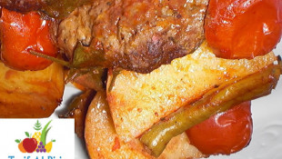 Fırında Domatesli, Biberli, Patatesli Köfte